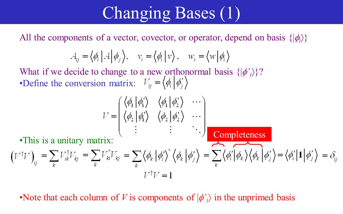 Vector space basis change