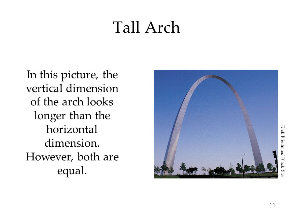 Tall ArchIn this picture, the vertical dimension of the arch looks longer than the horizontal dimension. However, both are equal.