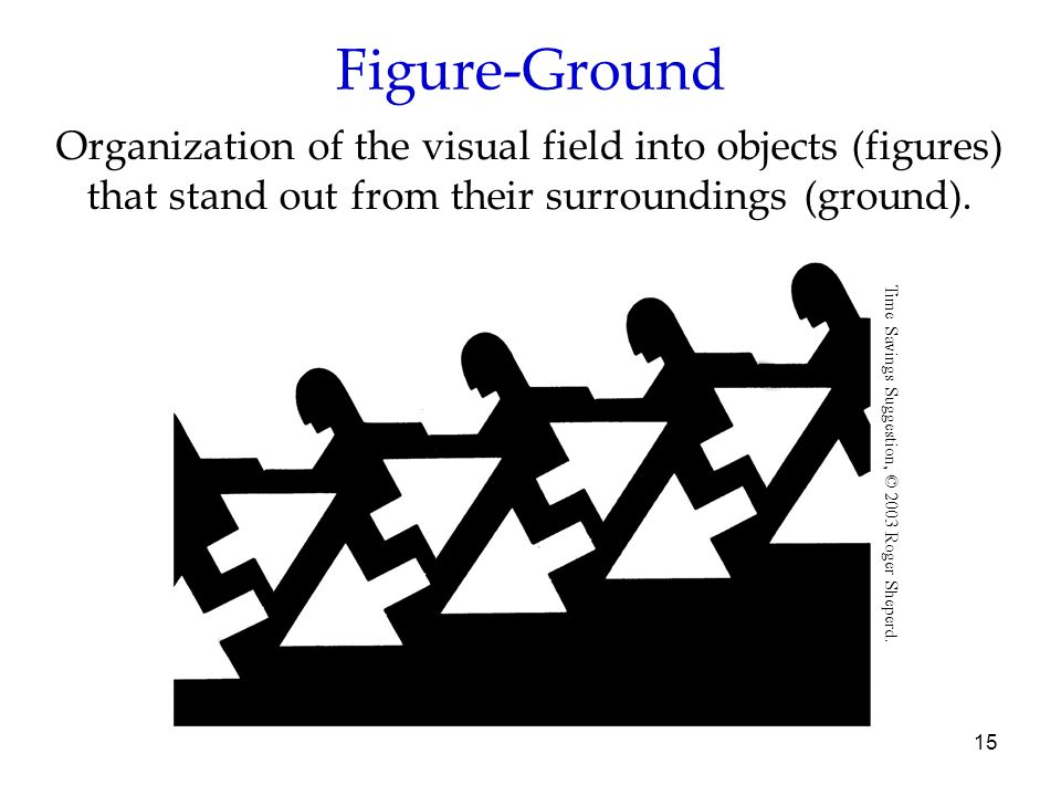 Figure-Ground Organization of the visual field into objects (figures) that stand out from their surroundings (ground).