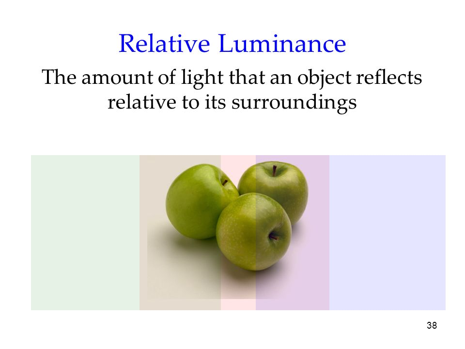 Relative Luminance The amount of light that an object reflects relative to its surroundings