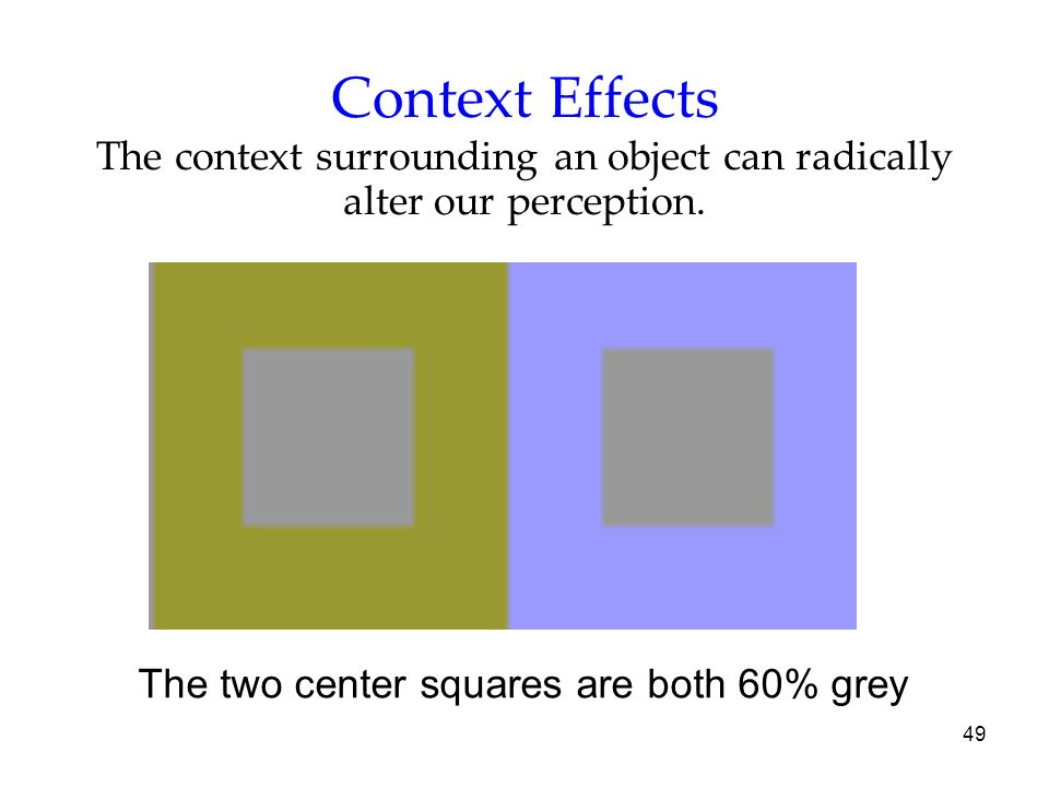 Context Effects The context surrounding an object can radically alter our perception.