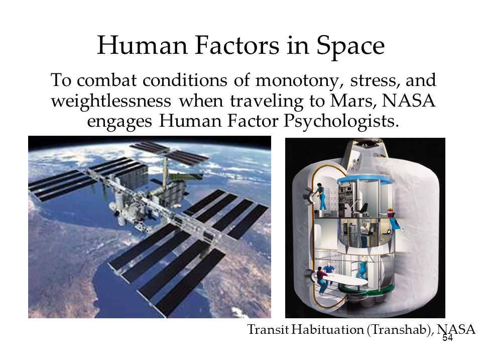 Human Factors in SpaceTo combat conditions of monotony, stress, and weightlessness when traveling to Mars, NASA engages Human Factor Psychologists.