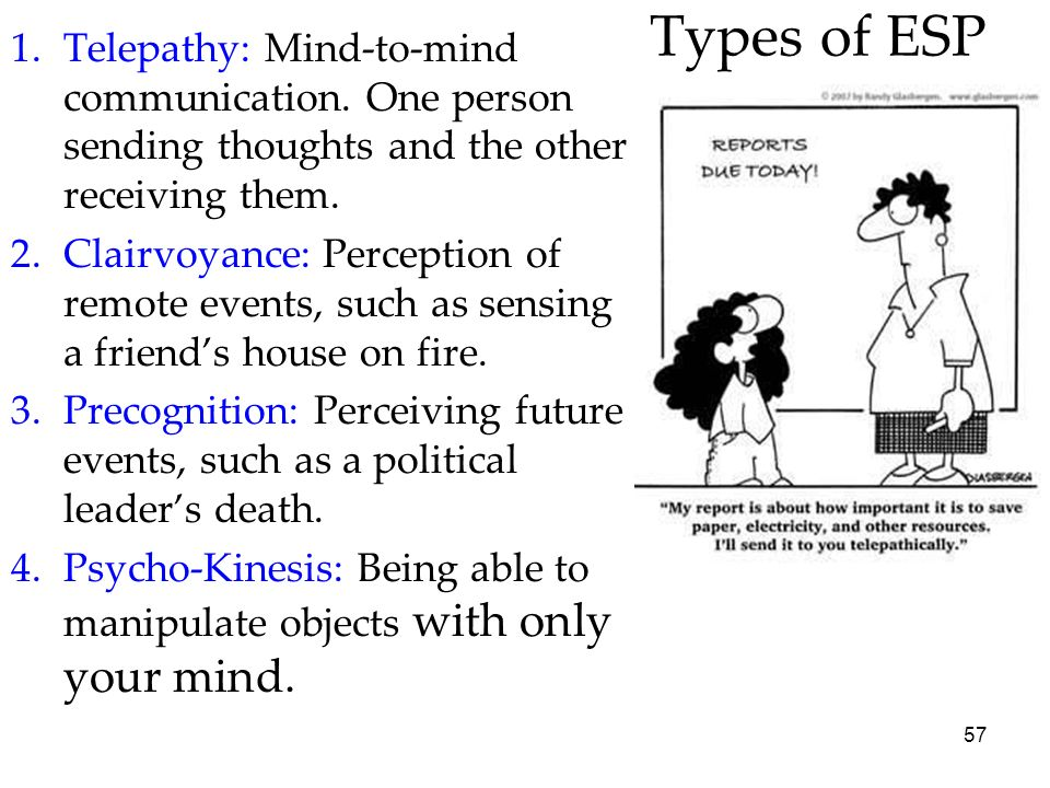 Types of ESPTelepathy: Mind-to-mind communication. One person sending thoughts and the other receiving them.
