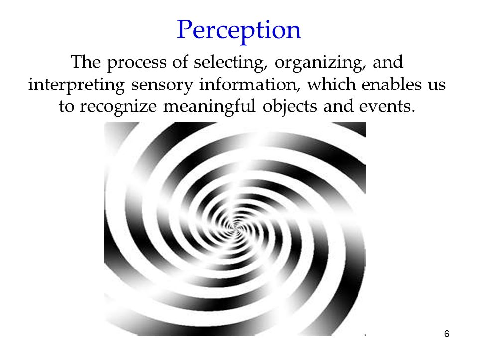 PerceptionThe process of selecting, organizing, and interpreting sensory information, which enables us to recognize meaningful objects and events.