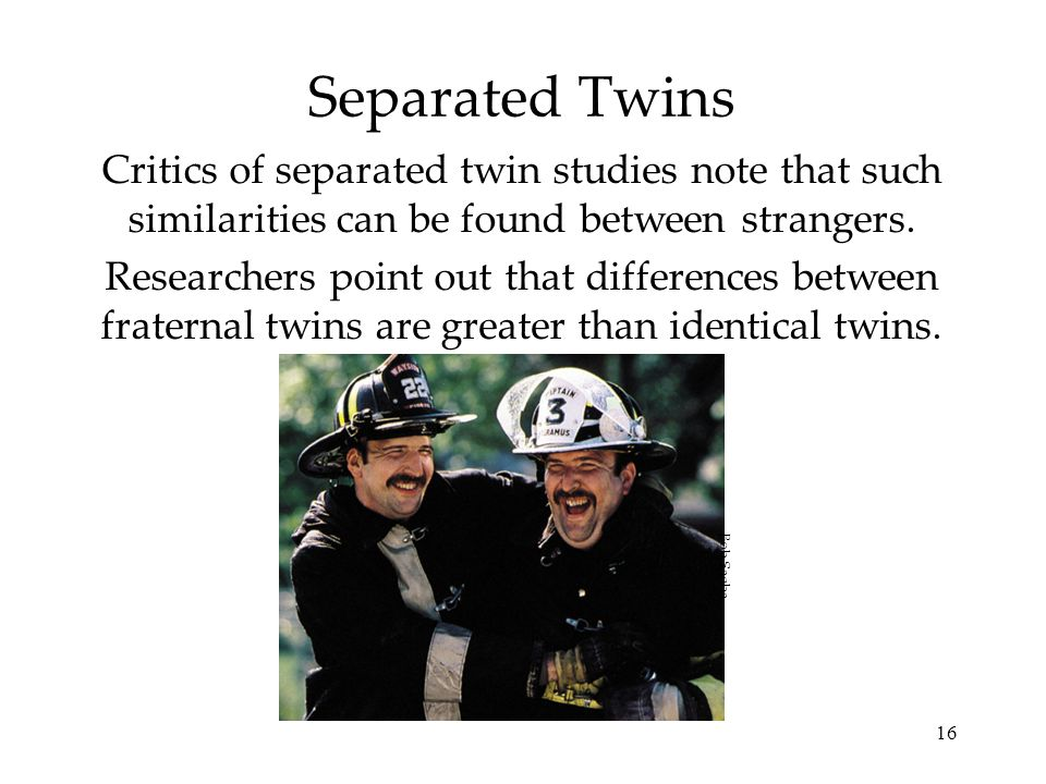 Separated Twins Critics of separated twin studies note that such similarities can be found between strangers.