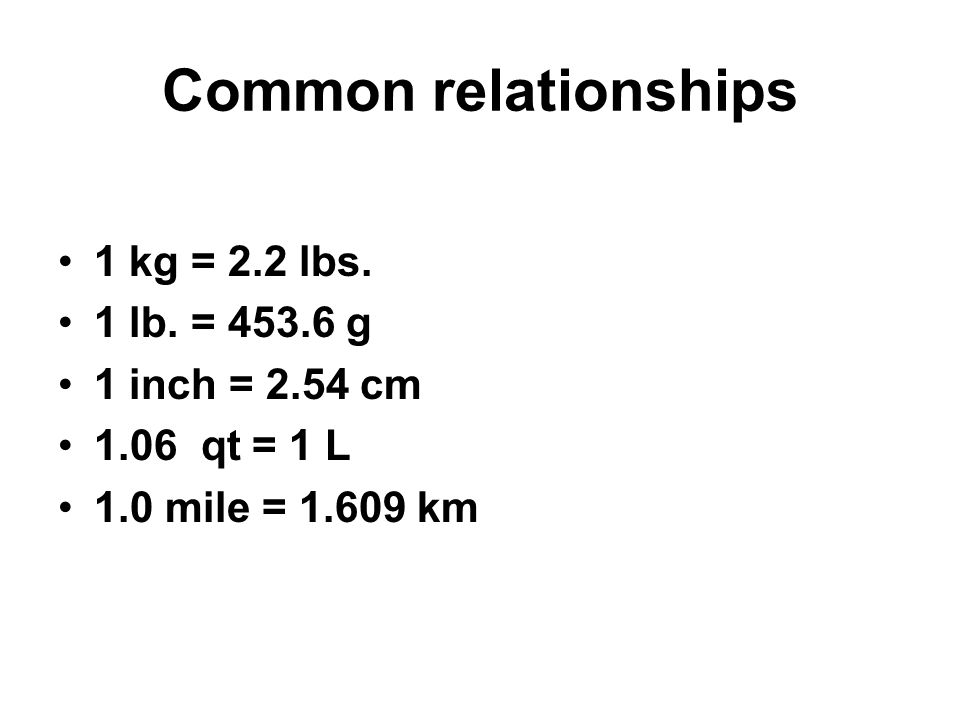 Common relationships 1 kg = 2.2 lbs. 1 lb. = 453.6 g 1 inch = 2.54 cm