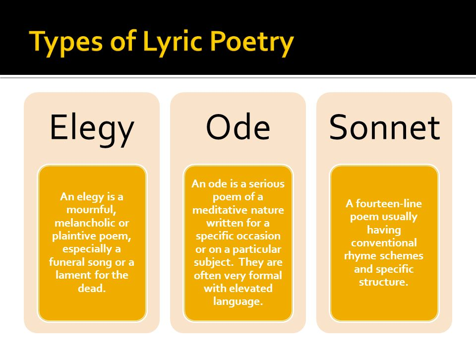 Elegy Ode Sonnet Types of Lyric Poetry