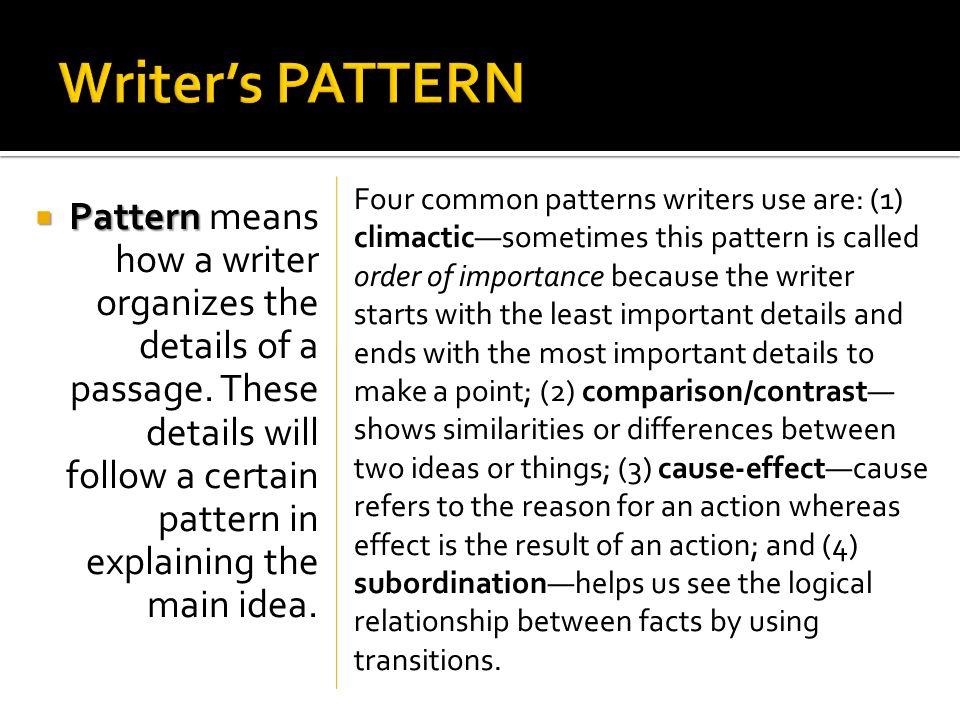Writer's PATTERN