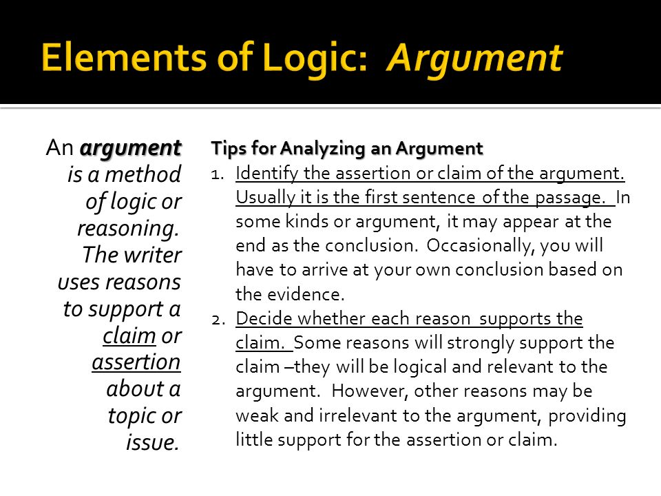 Elements of Logic: Argument