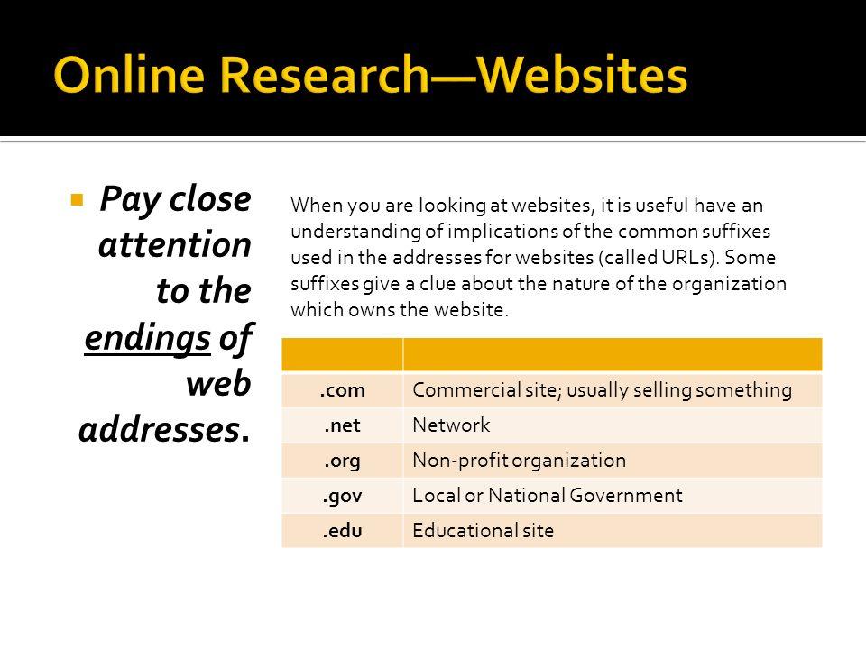 Online Research—Websites