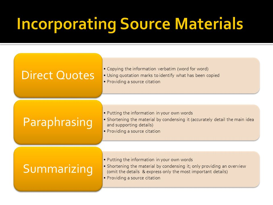 Incorporating Source Materials