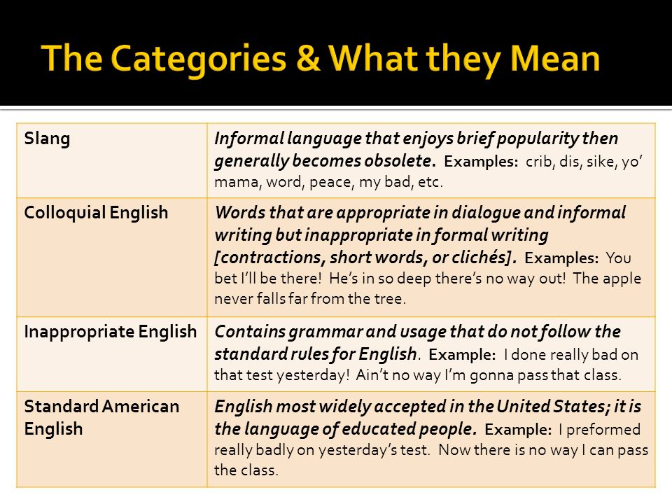 The Categories & What they Mean