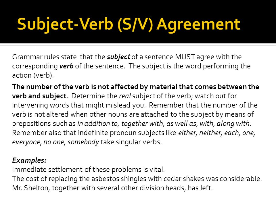 Subject-Verb (S/V) Agreement