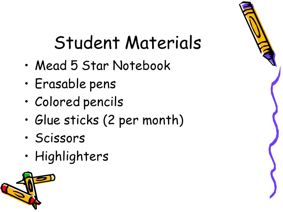 Student Materials Mead 5 Star Notebook Erasable pens Colored pencils