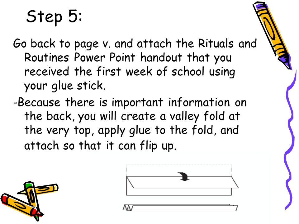 Step 5: Go back to page v. and attach the Rituals and Routines Power Point handout that you received the first week of school using your glue stick.