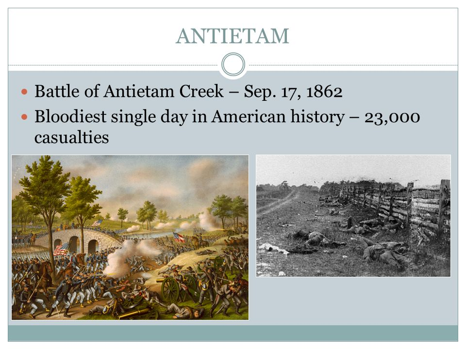 ANTIETAM Battle of Antietam Creek – Sep. 17, 1862