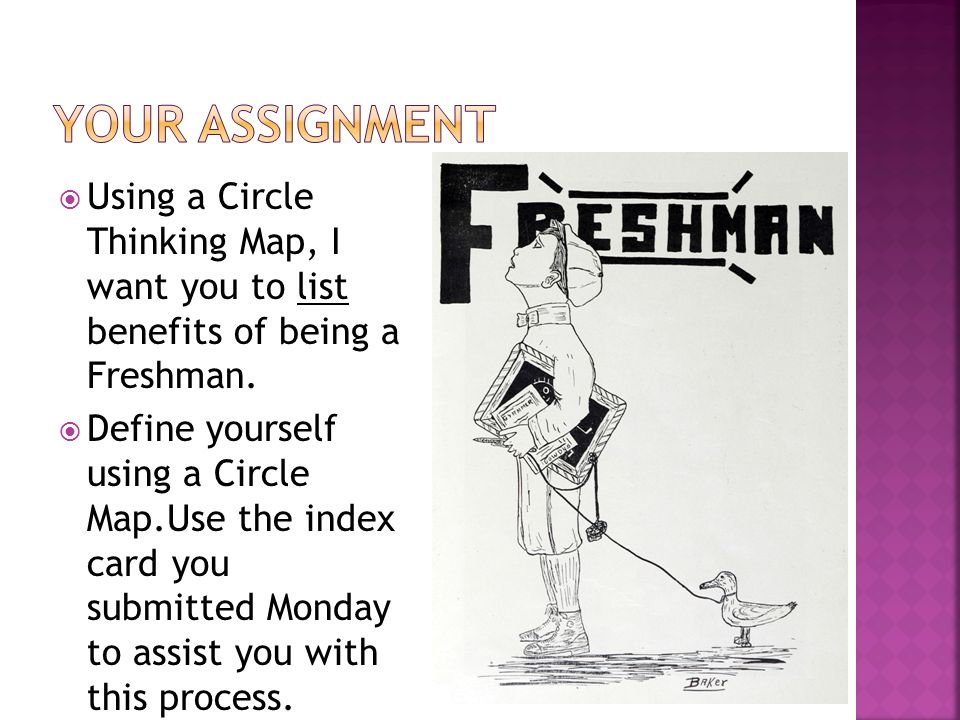 Your Assignment Using a Circle Thinking Map, I want you to list benefits of being a Freshman.