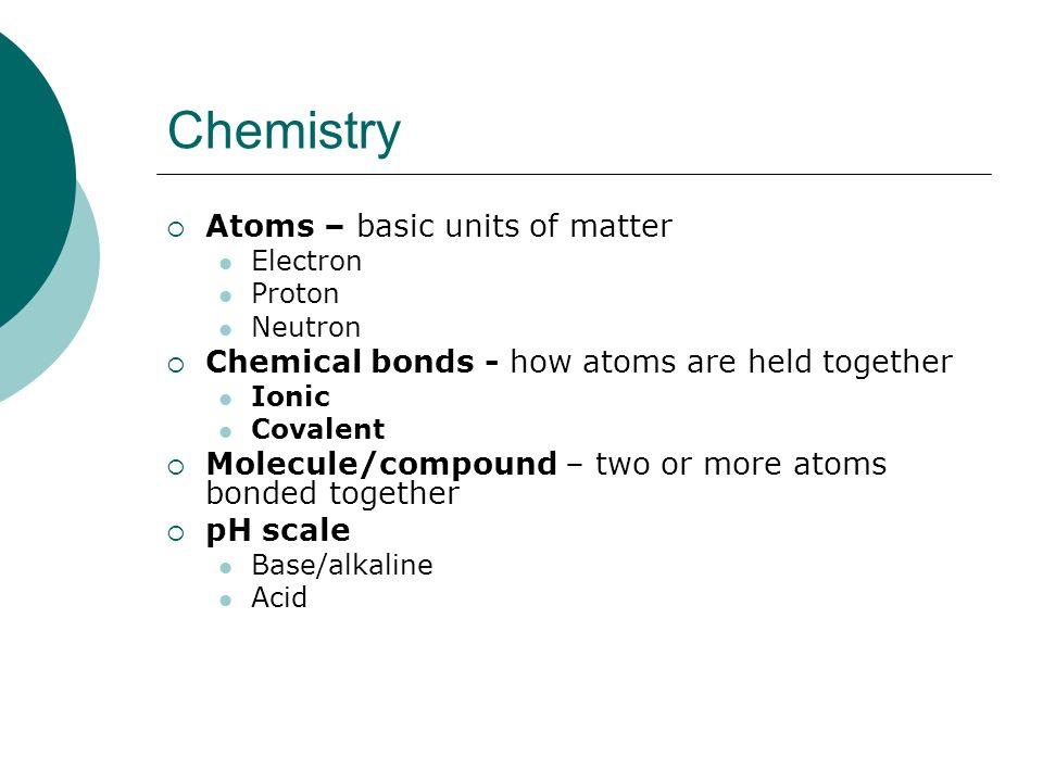 Chemistry Atoms – basic units of matter