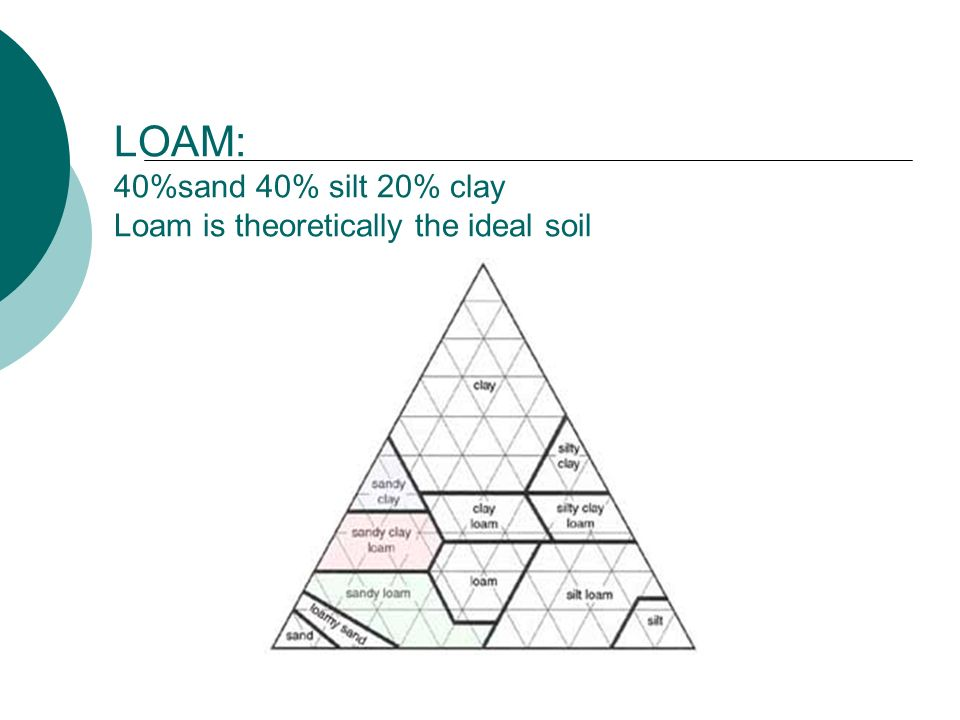 LOAM: 40%sand 40% silt 20% clay Loam is theoretically the ideal soil
