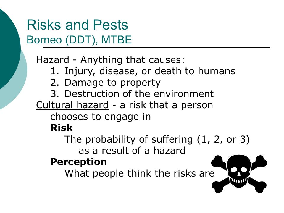 Risks and Pests Borneo (DDT), MTBE