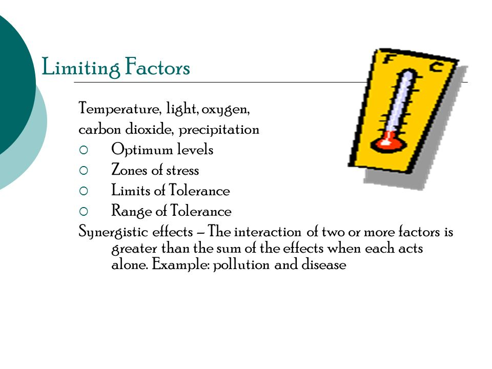 Limiting Factors Temperature, light, oxygen,
