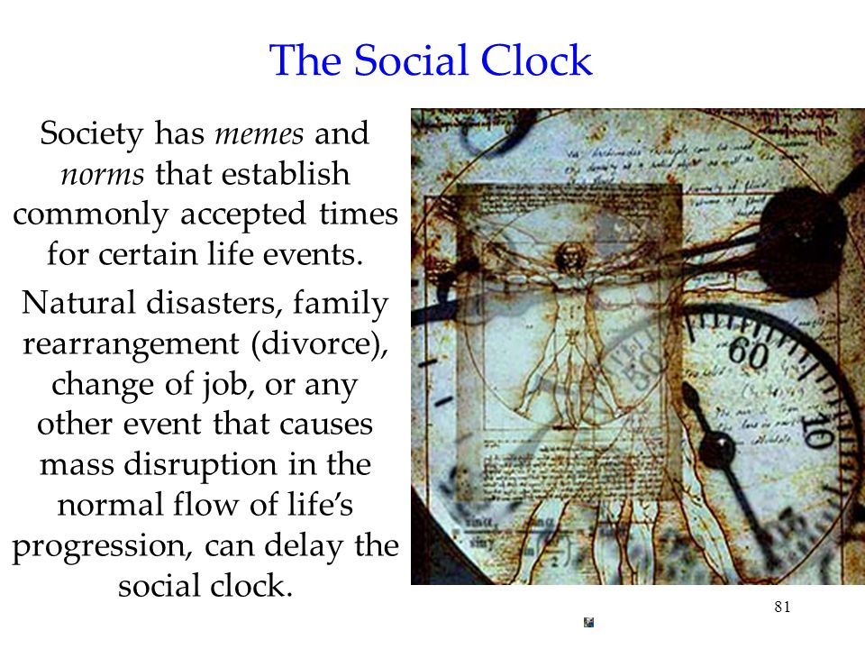 The Social Clock Society has memes and norms that establish commonly accepted times for certain life events.