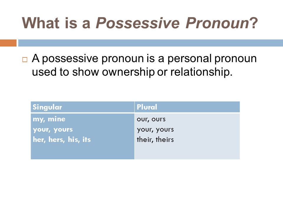 What is a Possessive Pronoun