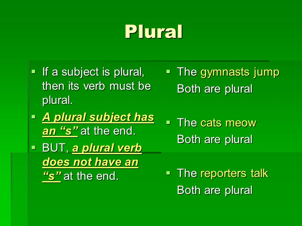Plural If a subject is plural, then its verb must be plural.