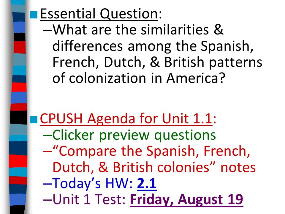 Essential Question: What are the similarities & differences among the Spanish, French, Dutch, & British patterns of colonization in America