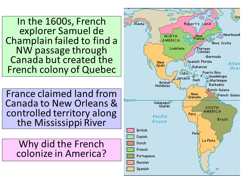 Why did the French colonize in America
