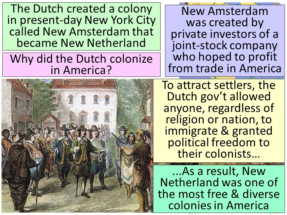Why did the Dutch colonize in America