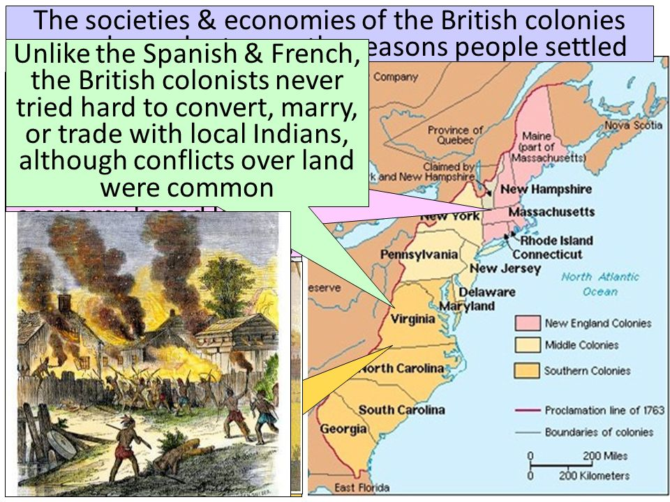 The societies & economies of the British colonies were dependent upon the reasons people settled