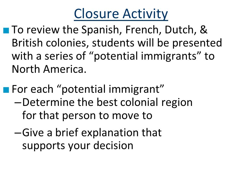Closure Activity