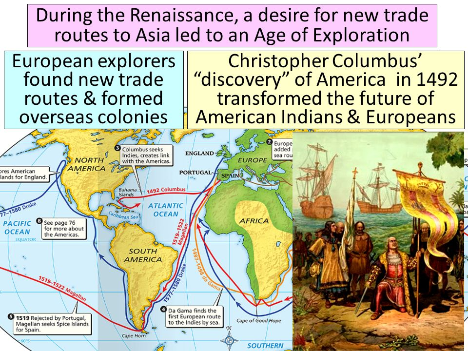 European explorers found new trade routes & formed overseas colonies