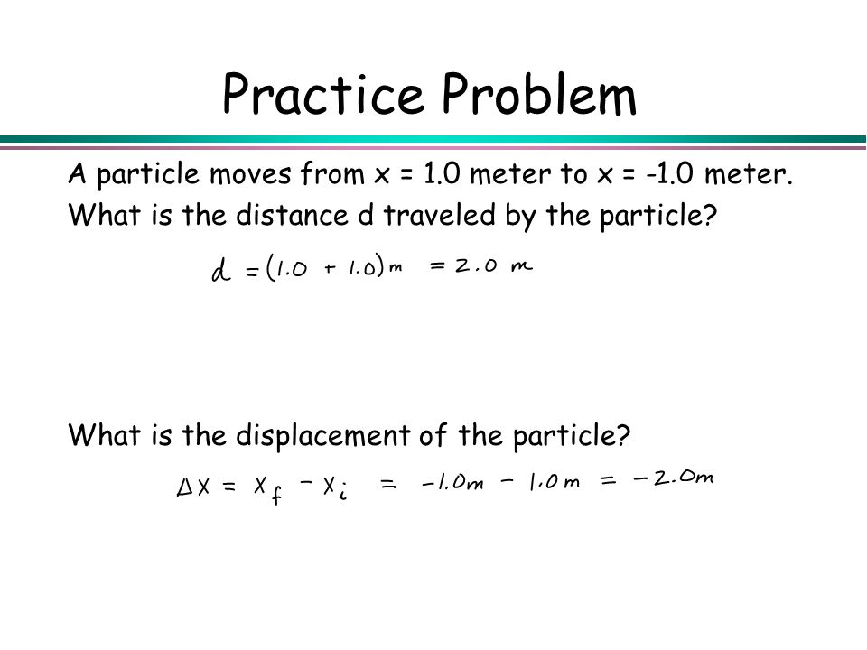 Practice Problem A particle moves from x = 1.0 meter to x = -1.0 meter. What is the distance d traveled by the particle