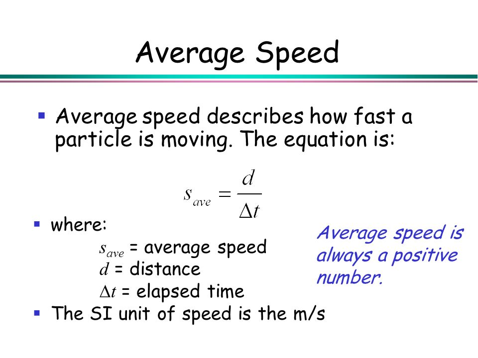 Average Speed Average speed describes how fast a particle is moving. The equation is: where: save = average speed.