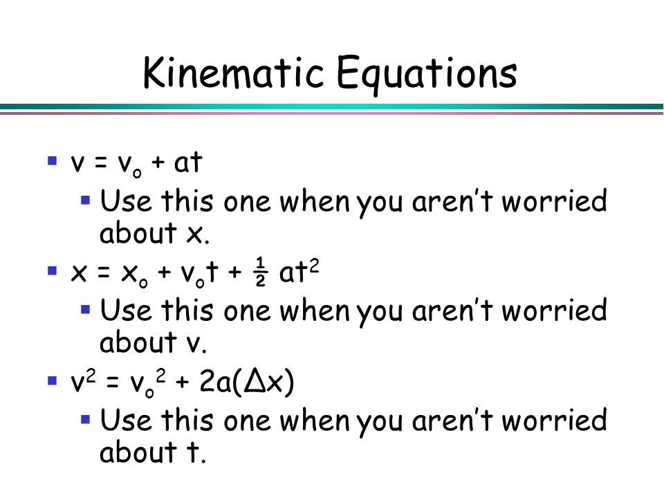 Kinematic Equations v = vo + at
