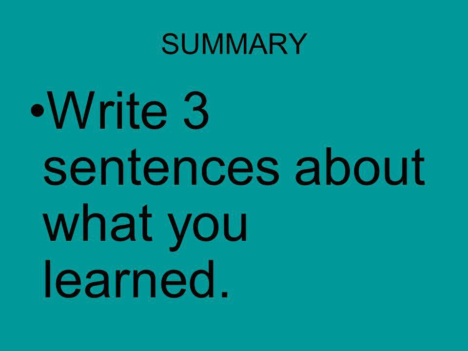 Write 3 sentences about what you learned.