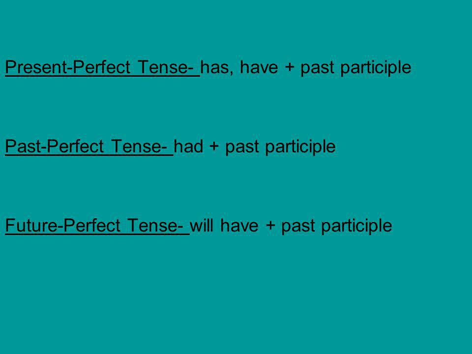 Present-Perfect Tense- has, have + past participle Past-Perfect Tense- had + past participle Future-Perfect Tense- will have + past participle