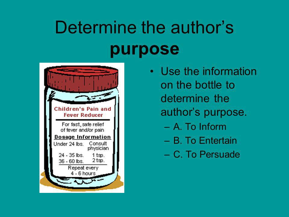 Determine the author's purpose