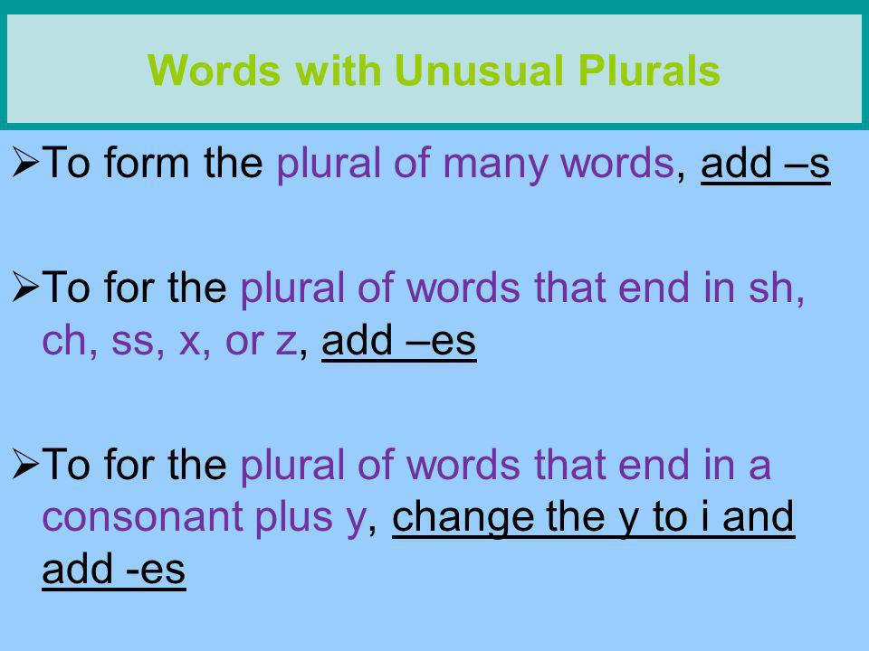Words with Unusual Plurals