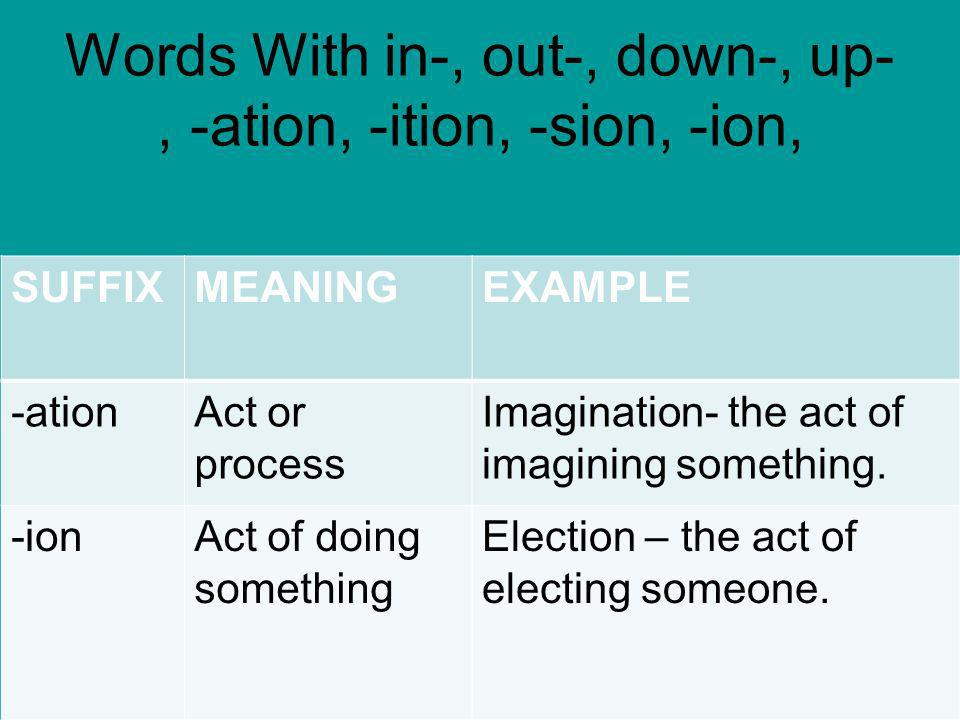 Words With in-, out-, down-, up-, -ation, -ition, -sion, -ion,