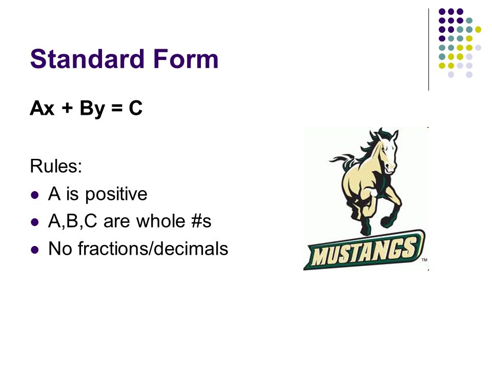 Standard Form Ax + By = C Rules: A is positive A,B,C are whole #s