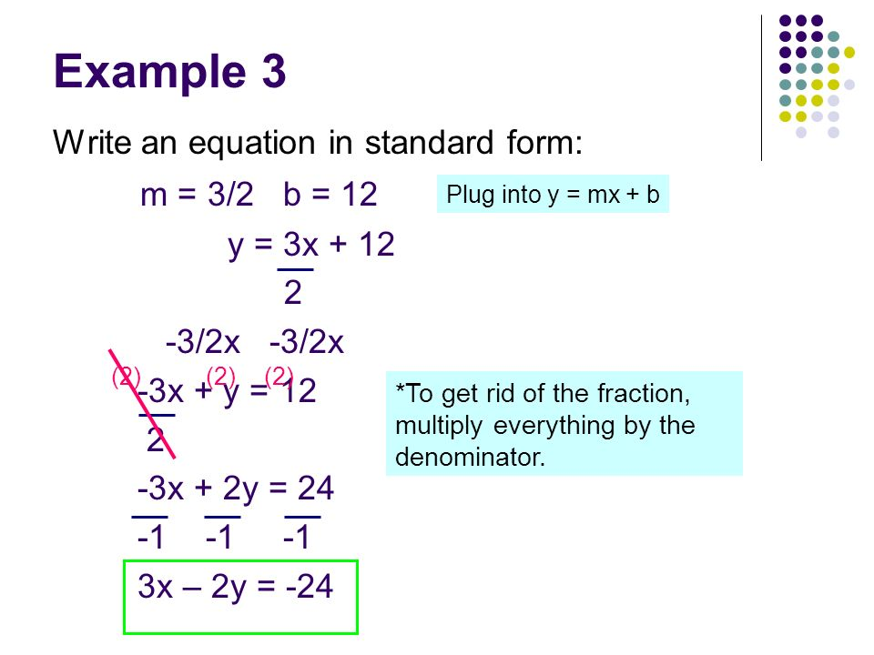 Example 3 m = 3/2 b = 12 Write an equation in standard form: