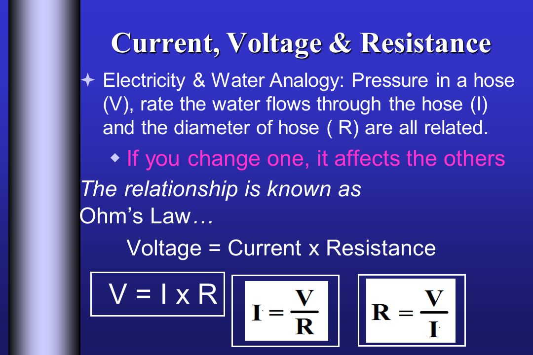 current voltage and resistance relationship to diameter