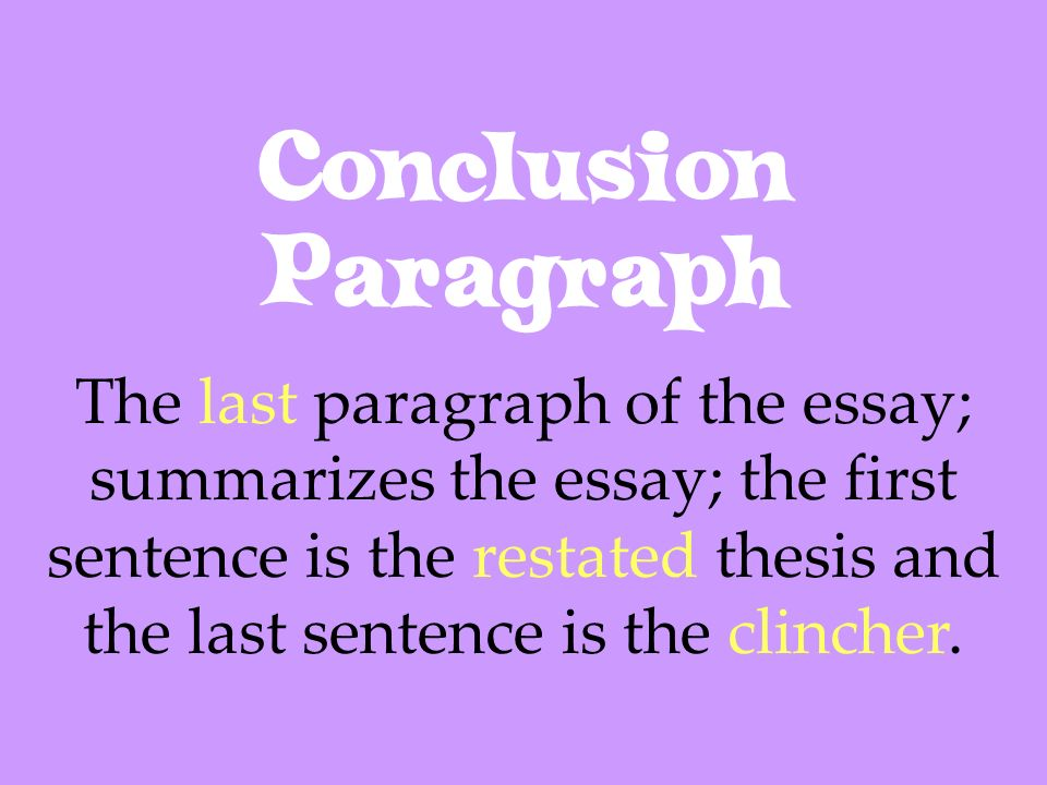 essay conclusion sentence The concluding paragraph if the introduction and body of your essay have a clear sentences explaining how paper has fit together and leads to a.