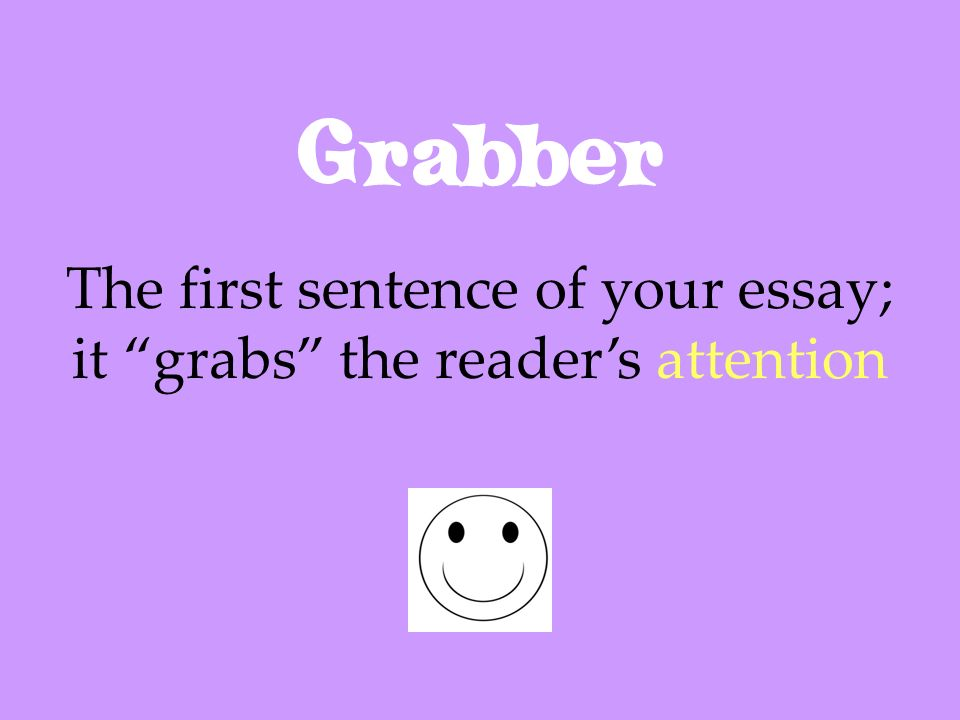 The first sentence of your essay; it grabs the reader's attention