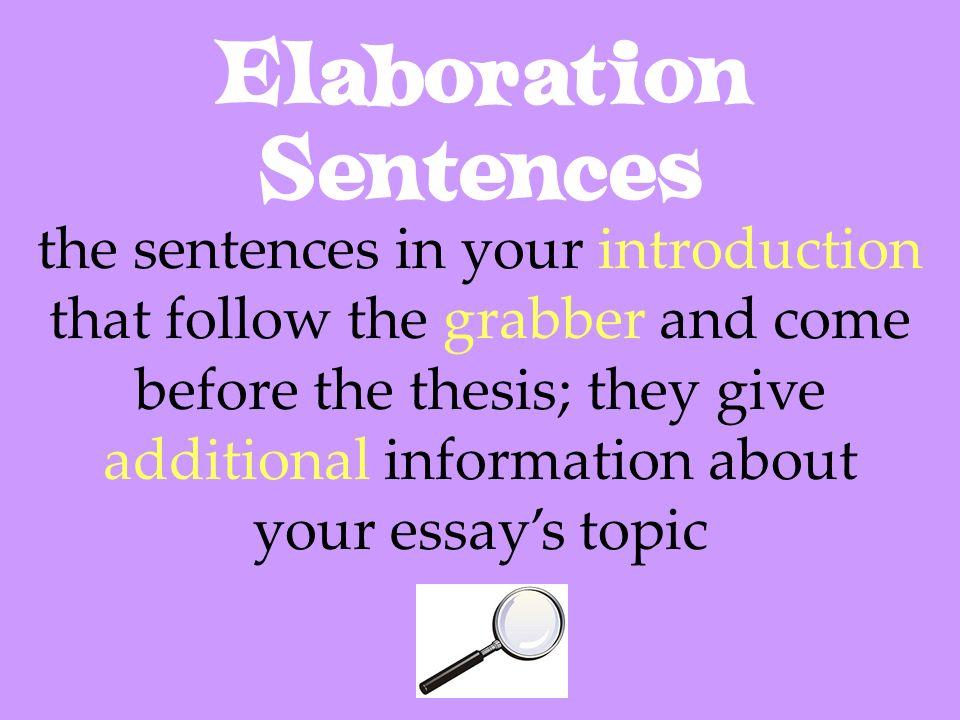 Elaboration Sentences