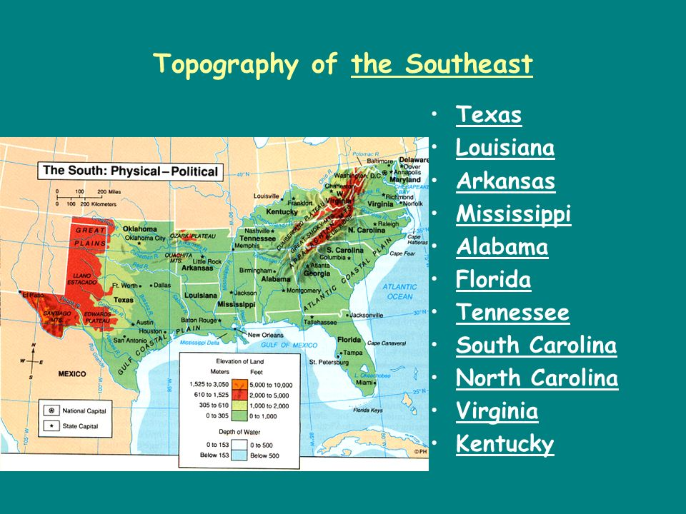 Topography of the Southeast