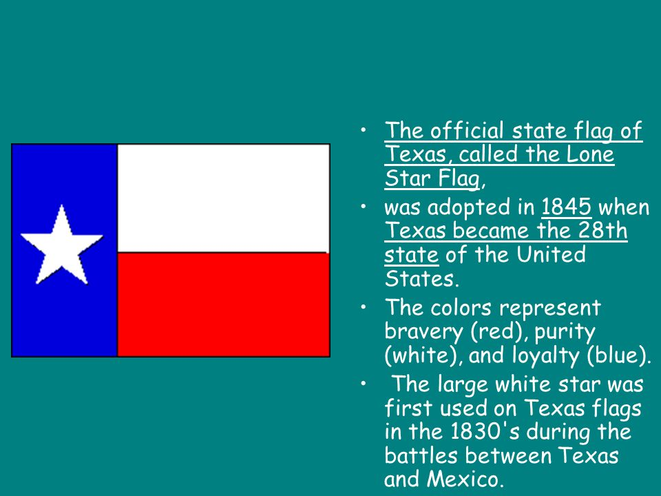 The official state flag of Texas, called the Lone Star Flag,
